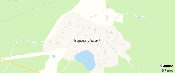 Карта Верхопуйского поселка в Архангельской области с улицами и номерами домов