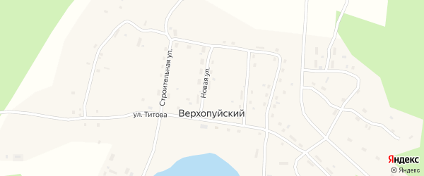 Приозерная улица на карте Верхопуйского поселка с номерами домов