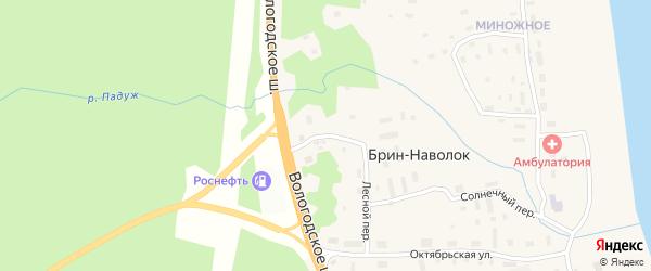 Вологодская улица на карте поселка Брина-Наволока с номерами домов