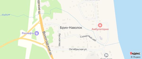 Солнечный переулок на карте поселка Брина-Наволока с номерами домов