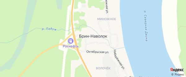 Карта поселка Брина-Наволока в Архангельской области с улицами и номерами домов
