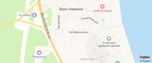 Октябрьская улица на карте поселка Брина-Наволока с номерами домов