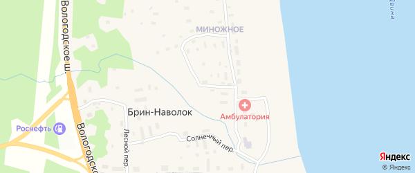 Миноженский переулок на карте поселка Брина-Наволока с номерами домов
