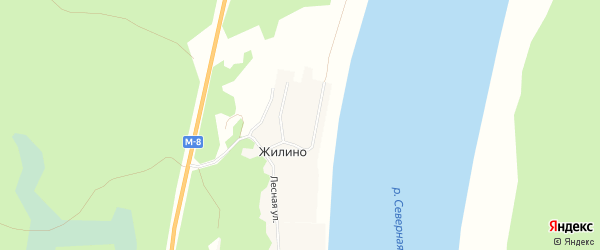 Карта деревни Жилино в Архангельской области с улицами и номерами домов