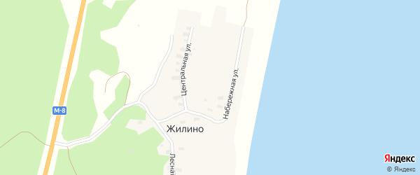 Лесная улица на карте деревни Жилино с номерами домов