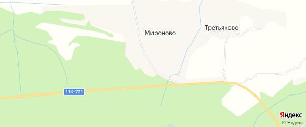 Карта деревни Мироново в Архангельской области с улицами и номерами домов