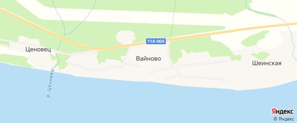 Карта поселка Вайново в Архангельской области с улицами и номерами домов