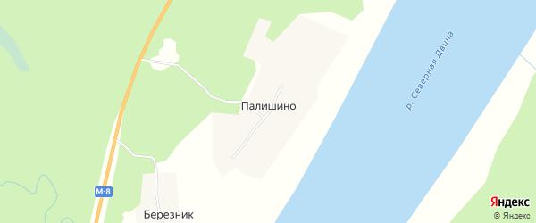 Карта деревни Палишино в Архангельской области с улицами и номерами домов
