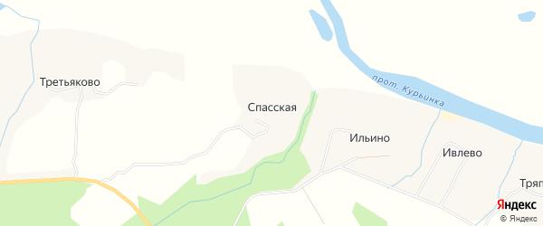 Карта Спасской деревни в Архангельской области с улицами и номерами домов