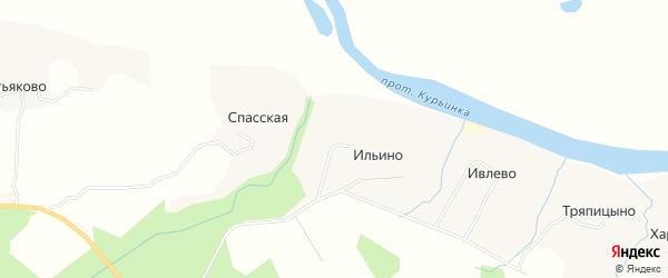 Карта деревни Ильино в Архангельской области с улицами и номерами домов