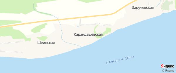 Карта Карандашевской деревни в Архангельской области с улицами и номерами домов