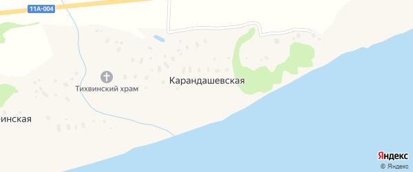 Набережная улица на карте Карандашевской деревни с номерами домов