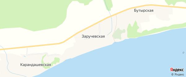 Карта Заручевская деревни в Архангельской области с улицами и номерами домов