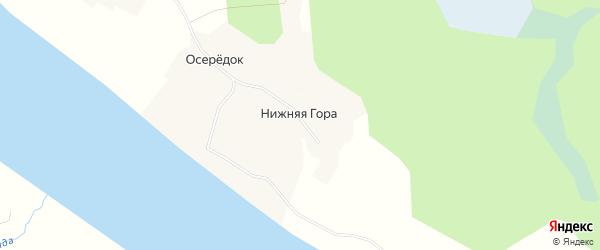 Карта деревни Нижняя Гора (Ракульский с/с) в Архангельской области с улицами и номерами домов