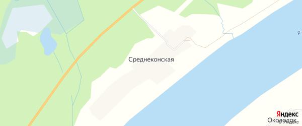 Карта Среднеконской деревни в Архангельской области с улицами и номерами домов