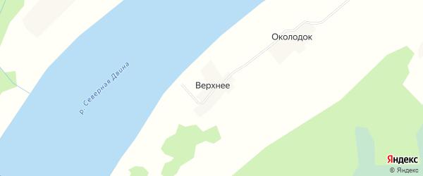 Карта деревни Верхнего в Архангельской области с улицами и номерами домов