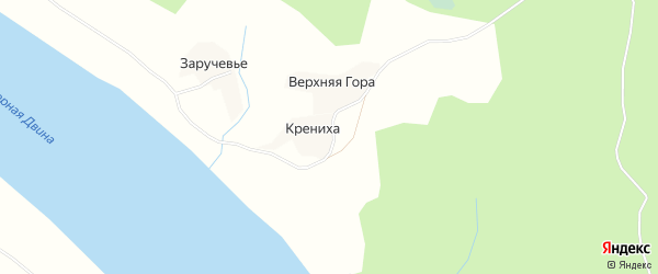 Карта деревни Кренихи в Архангельской области с улицами и номерами домов