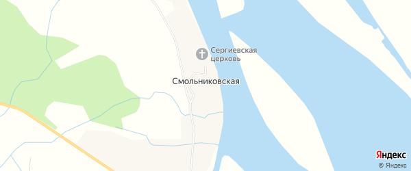 Карта Смольниковской деревни в Архангельской области с улицами и номерами домов