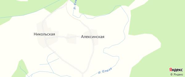 Карта Алексинской деревни в Архангельской области с улицами и номерами домов