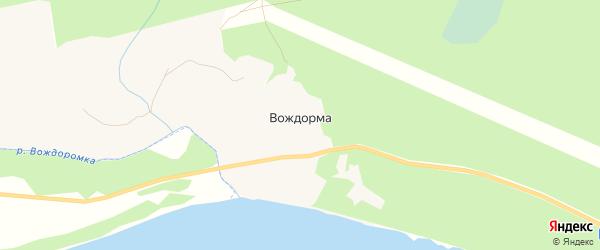 Карта деревни Вождормы в Архангельской области с улицами и номерами домов