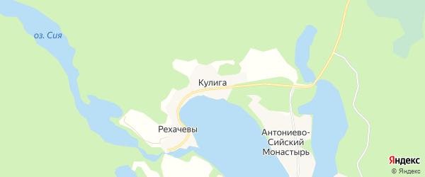 Карта деревни Кулига (Емецкий с/с) в Архангельской области с улицами и номерами домов