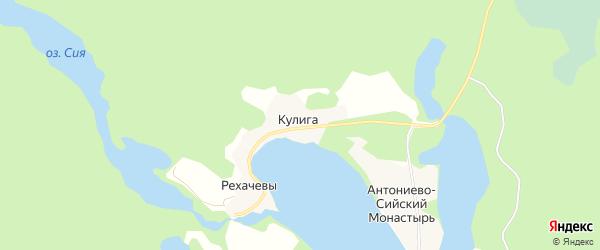 Карта деревни Рехачевы в Архангельской области с улицами и номерами домов