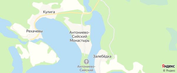 Карта деревни Антониево-Сийский Монастырь в Архангельской области с улицами и номерами домов