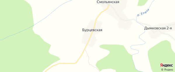 Карта Бурцевской деревни в Архангельской области с улицами и номерами домов