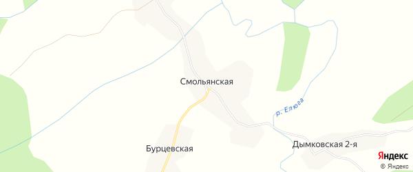 Карта Смольянской деревни в Архангельской области с улицами и номерами домов