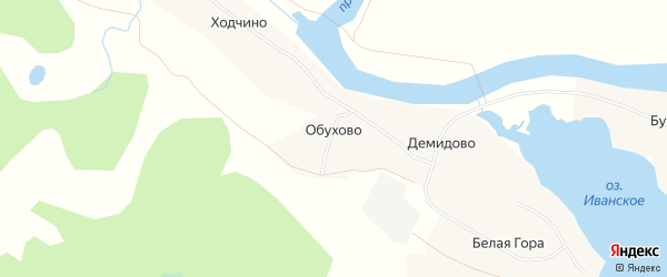 Карта деревни Обухово в Архангельской области с улицами и номерами домов
