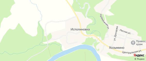 Карта поселка Исполиновки в Архангельской области с улицами и номерами домов