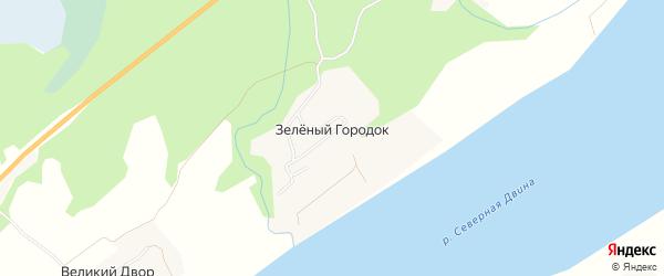 Карта поселка Зеленого Городка в Архангельской области с улицами и номерами домов