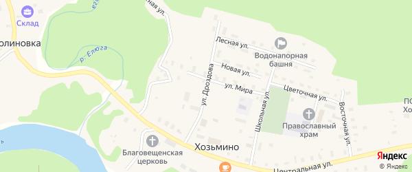 Улица Дроздова на карте поселка Хозьмино с номерами домов