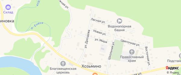 Улица Мира на карте поселка Хозьмино с номерами домов