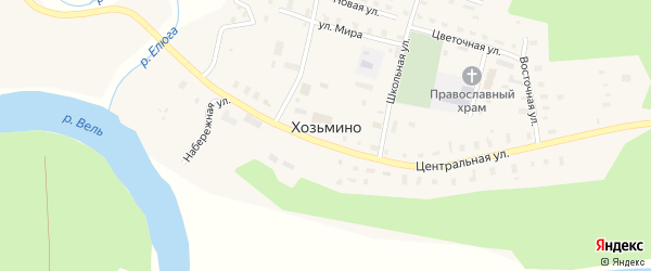 Набережная улица на карте поселка Хозьмино с номерами домов