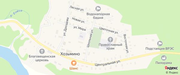 Школьная улица на карте поселка Хозьмино с номерами домов