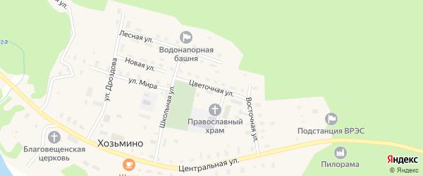Цветочная улица на карте поселка Хозьмино с номерами домов