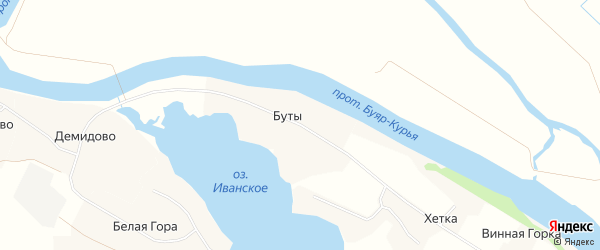Карта деревни Буты в Архангельской области с улицами и номерами домов