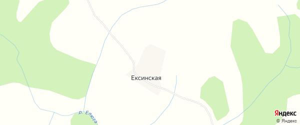 Карта Ексинской деревни в Архангельской области с улицами и номерами домов