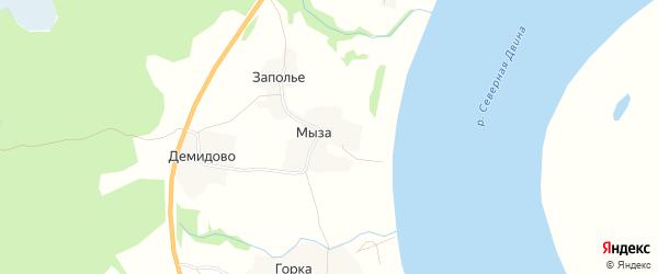 Карта деревни Мыза (Емецкий с/с) в Архангельской области с улицами и номерами домов
