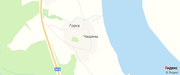 Карта деревни Чащины в Архангельской области с улицами и номерами домов