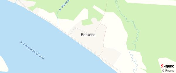 Карта деревни Волково в Архангельской области с улицами и номерами домов