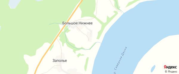 Карта деревни Малого Нижнего в Архангельской области с улицами и номерами домов