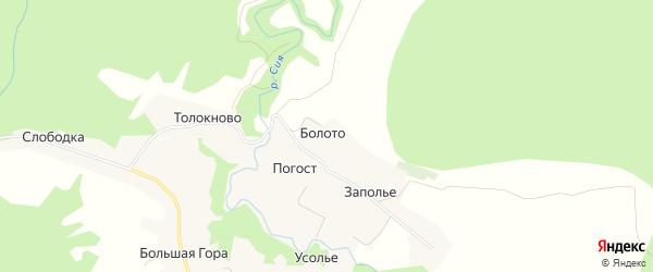 Карта деревни Болота в Архангельской области с улицами и номерами домов