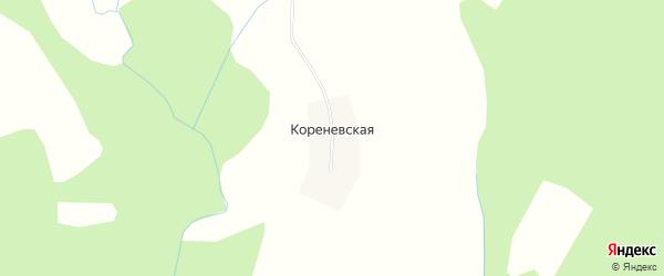 Карта Кореневской деревни в Архангельской области с улицами и номерами домов