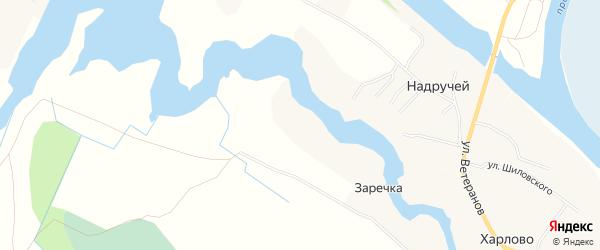 Карта деревни Заречка (Матигорский с/с) в Архангельской области с улицами и номерами домов