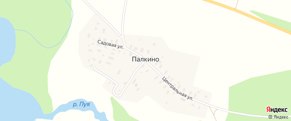 Набережная улица на карте деревни Палкино с номерами домов