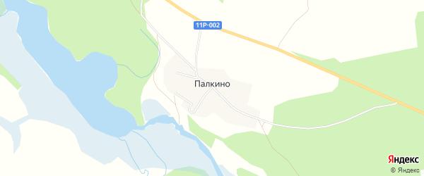 Карта деревни Палкино в Архангельской области с улицами и номерами домов