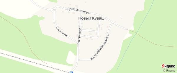 Торговая улица на карте поселка Нового Куваша с номерами домов
