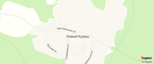 Центральная улица на карте поселка Нового Куваша с номерами домов